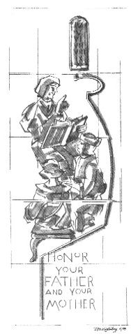 Salem's etched window - love thy neighbor